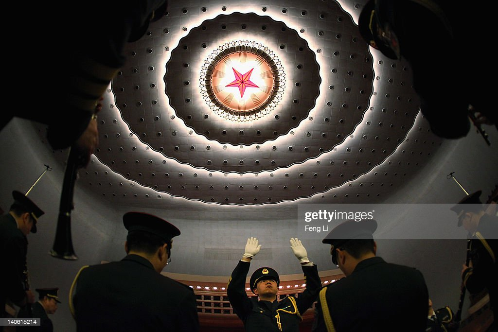Members from a military band perform during the rehearsal ahead of the opening ceremony of the Chinese People's Political Consultative Conference at the Great Hall of the People on March 3, 2012 in Beijing, China. The Chinese People's Political Consultative Conference opens on March 3 in Beijing.