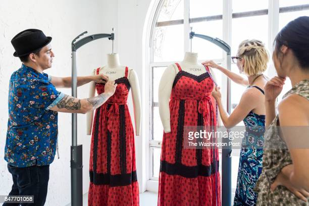 Members from the design and technical teams at ModCloth Patrick Pettinato Meredith Petro and Jackie Lee sample test two sizes of a dress Small and 2X...