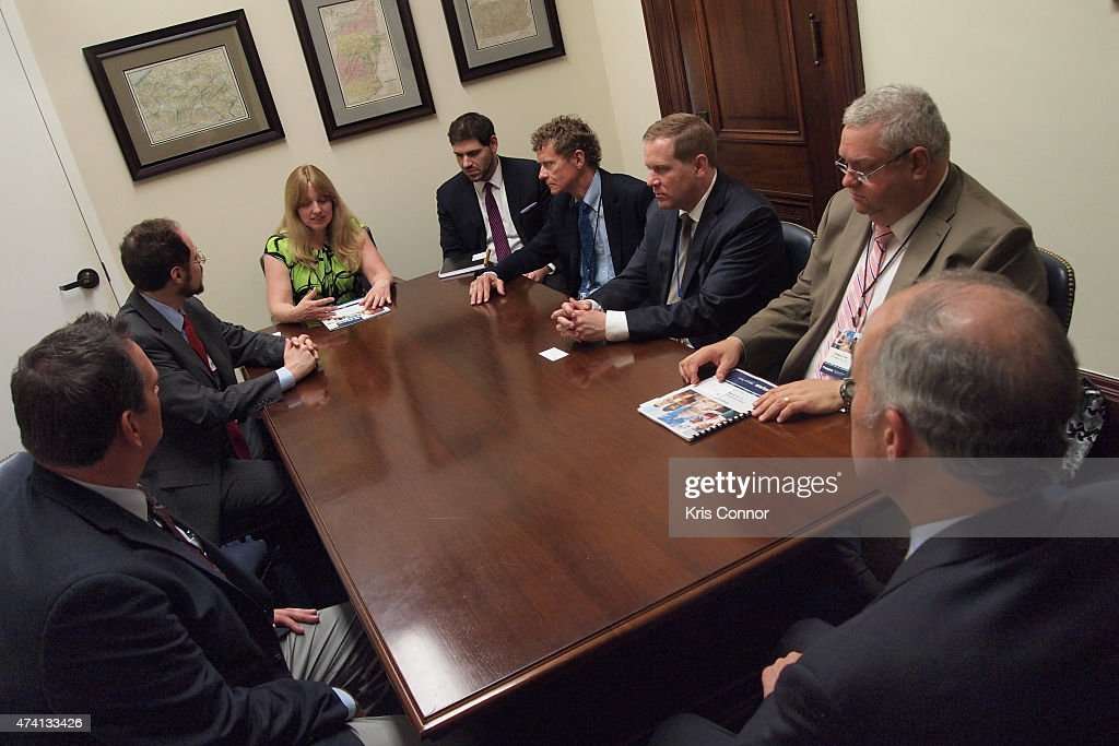 NAMM members including Chris Martin meet with Sen. Bob Casey (D) in the Russell Senate Office Building as part of 'Music Industry Leaders And Artists Drum Up Support For Music Education On Capitol Hill' event as part of Namm's D.C. Fly-in on May 20, 2015 in Washington, DC.