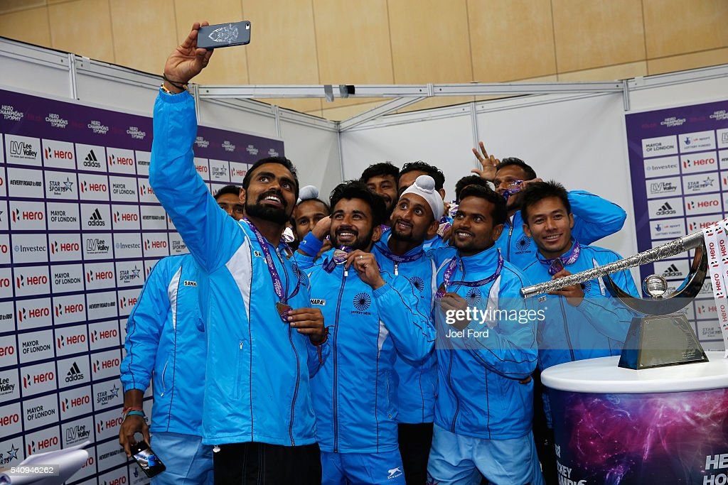 Members Indian men's hockey team take a selfie after being awarded their runners up medals during the FIH Men's Hero Hockey Champions Trophy 2016...