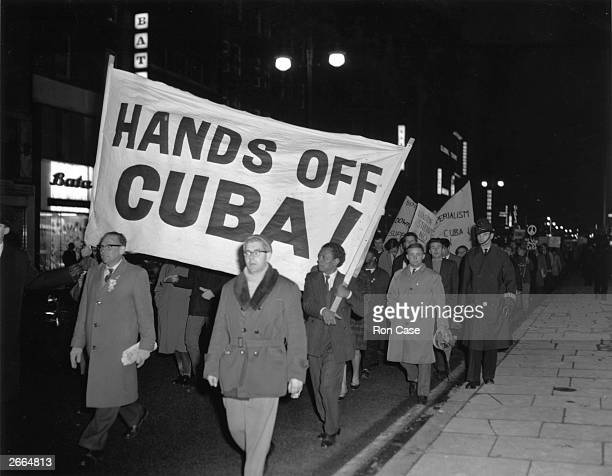 CND members marching in Oxford Street London protesting against the United States' action over the Cuban missile crisis