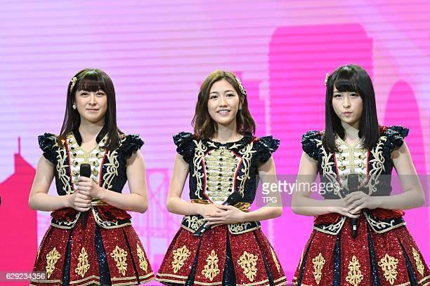 AKB48 members Mayu WatanabeKawamoto Saya and Izu Darina come to Shanghai for fans meeting conference on 11th December 2016 in Shanghai China