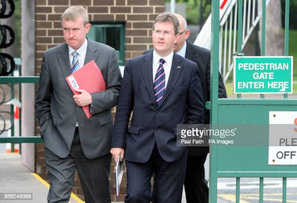 DUP Members Mervyn Storey and Jeffrey Donaldson MP after their meeting at PSNI headquarters in Belfast