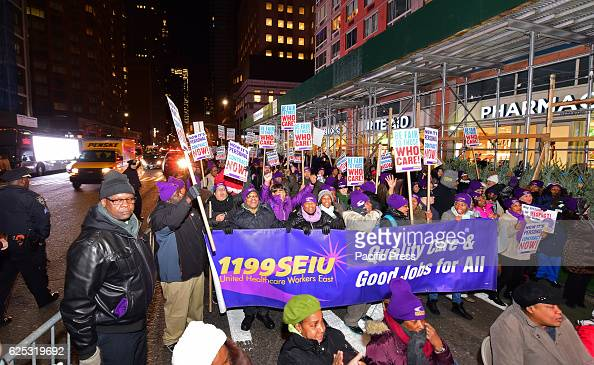 Members of 1199 SEIU the Service Employees International Union staged a 'Do The Rite Thing' rally march urging Rite Aid drugstores not to slash...