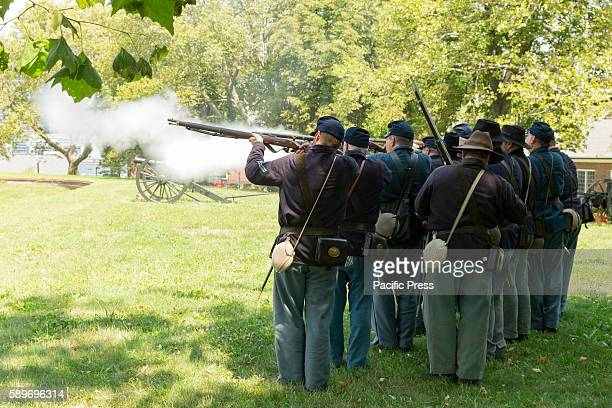 Members of 119th New York Volunteer Infantry living history organization put on Civil War musket demonstrations at National Park Service annual Civil...