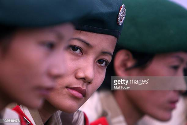 Members of 15th Nagaland Armed Police Mahila Battalion listen to Union Home Minister P Chidambaram who visited them in New Delhi on October 16 2010...