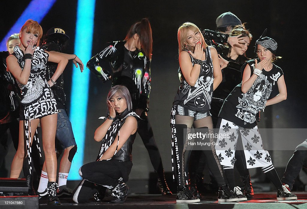 Members of 2NE1 perform onstage during the Incheon Korean Wave Festival 2011 at Incheon World Cup Stadium on August 13, 2011 in Incheon, South Korea.