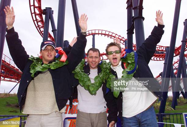 Members of 911 boy band Jimmy Constable Simon 'Spike' Dawbarn and Lee Brenen try out the new Traumatizer ride the tallest and fastest looping...