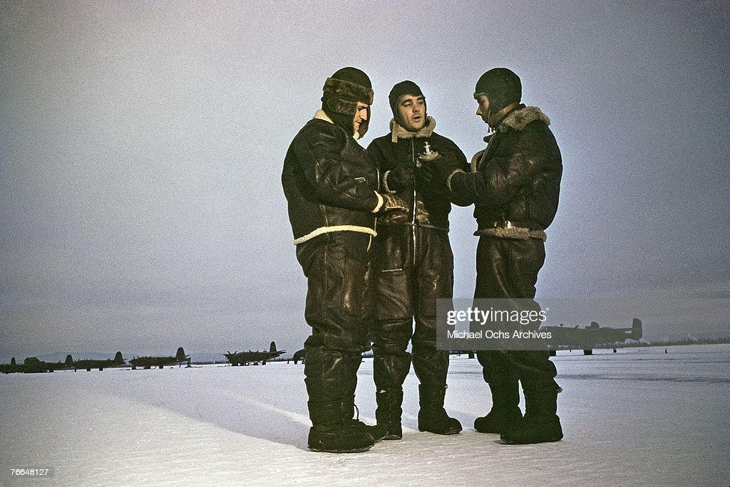 Members of a B24 Liberator crew at a United States Army Air Force base in December 1942 in Goose Bay Labrador Canada