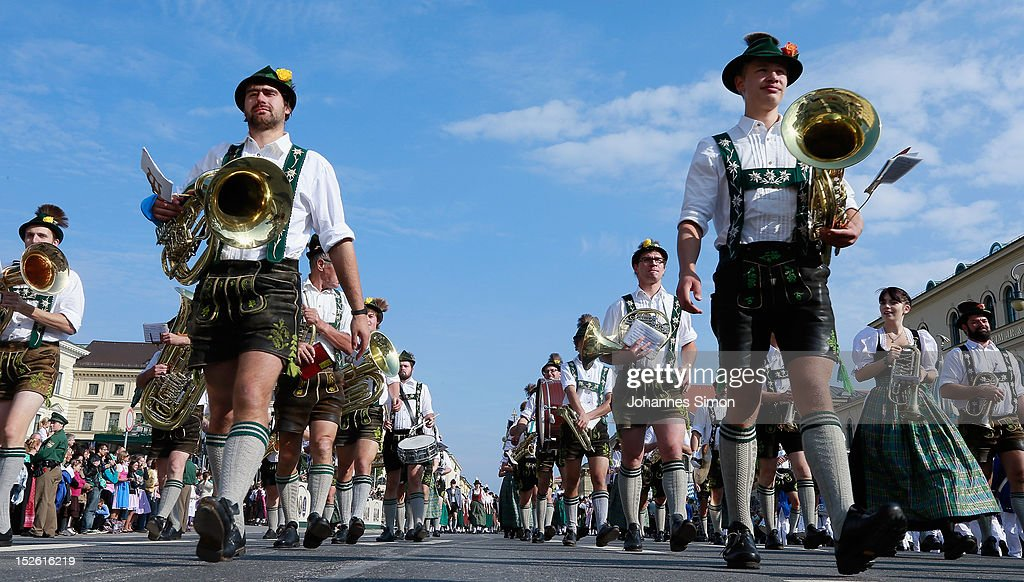 Members of a brass band wearing traditional Bavarian clothes participate in the riflemen's parade during day 2 of the Oktoberfest beer festival on September 22, 2012 in Munich, Germany.This year's edition of the world's biggest beer festival Oktoberfest will run until October 7, 2012.