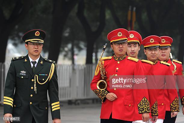 Members of a Chinese military band prepare for the arrival of the Vice President of Venezuela Jorge Arreaza Montserrat and Chinese Vice President Li...