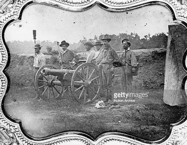 Members of a FreeState Battery formed to fight Proslavery forces in Kansas during the 'Bleeding Kansas' period 1856 They are at Topeka in Kansas
