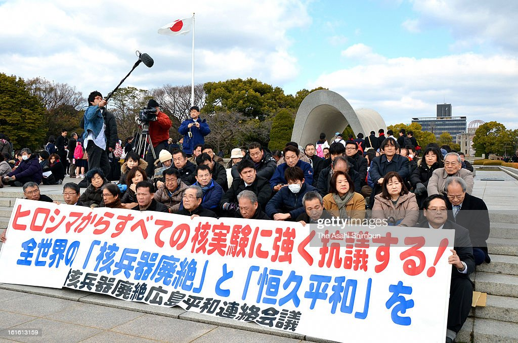 Members of a group against nuclear weapons hold a sit-in protest against North Korea's nuclear tes at Hiroshima Peace Memorial Park on February 13, 2013 in Hiroshima, Japan. North Korea claimed the device was smaller than in previous tests. Leaders around the world have condemned the nuclear test and have called for swift action against the reclusive country.