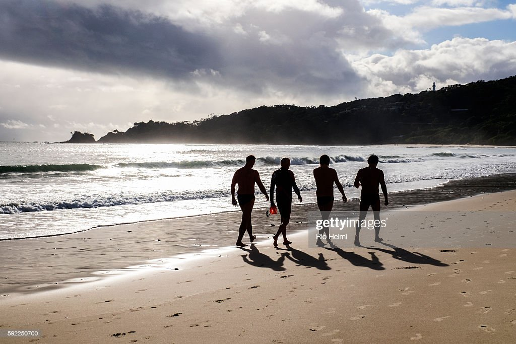 Members of a group of ocean swimmers calling themselves the Stingrays who swim across from the most easterly point of Australia under the Byron Bay...