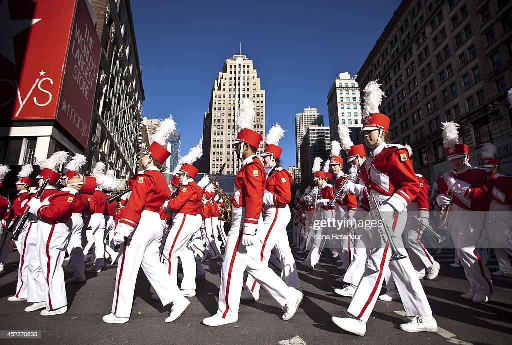 Members of a marching band attend the Macy's Thanksgiving Day Parade on November 28 2013 in New York City Despite earlier concerns about the wind the...