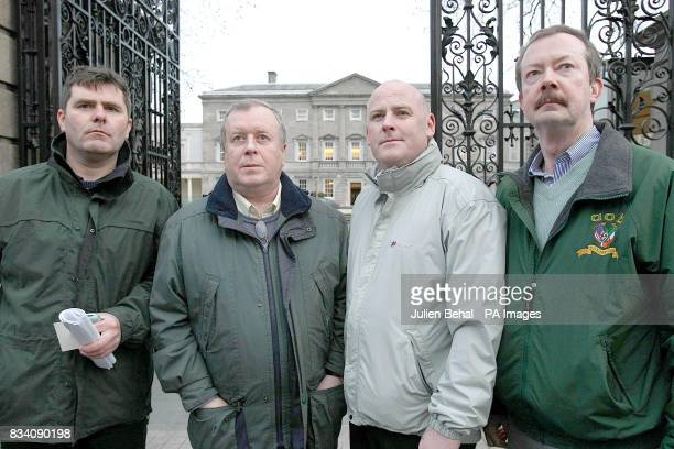 Members of a Northern Ireland delegation left to right Mark Thompson Robert McClenaghan Mark Sykes and Dr Michael Glass outside the gates of Leinster...