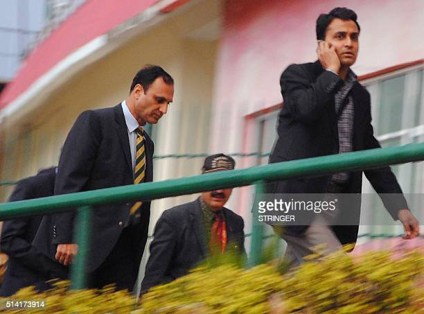 Members of a Pakistani security team arrive at an Indian cricket stadium in Dharamsala to conduct a security assessment on March 7 2016 ahead of the...