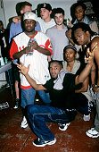Members of A Tribe Called Quest with Harmony Korine Leonardo Dicaprio and Michael Rappaport and Mos Def backstage at A Tribe Called Quest show at...