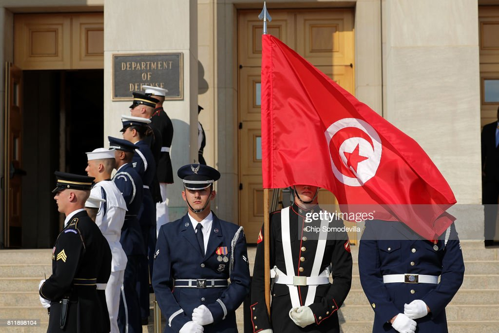 Members of a U.S. military honor guard prepare for the arrival of U.S. Secretary of Defense James Mattis and Tunisian Prime Minister Youssef Chahed for an honor cordon ceremony at the Pentagon July 10, 2017 in Arlington, Virginia. Chahed will participate in bilateral meetings with Vice President Mike Pence later in the day.