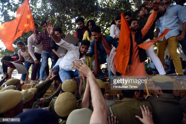 Members of ABVP protest demanding action against February 9 incident where Leftleaning students allegedly supporting antinational activities at PHQ...