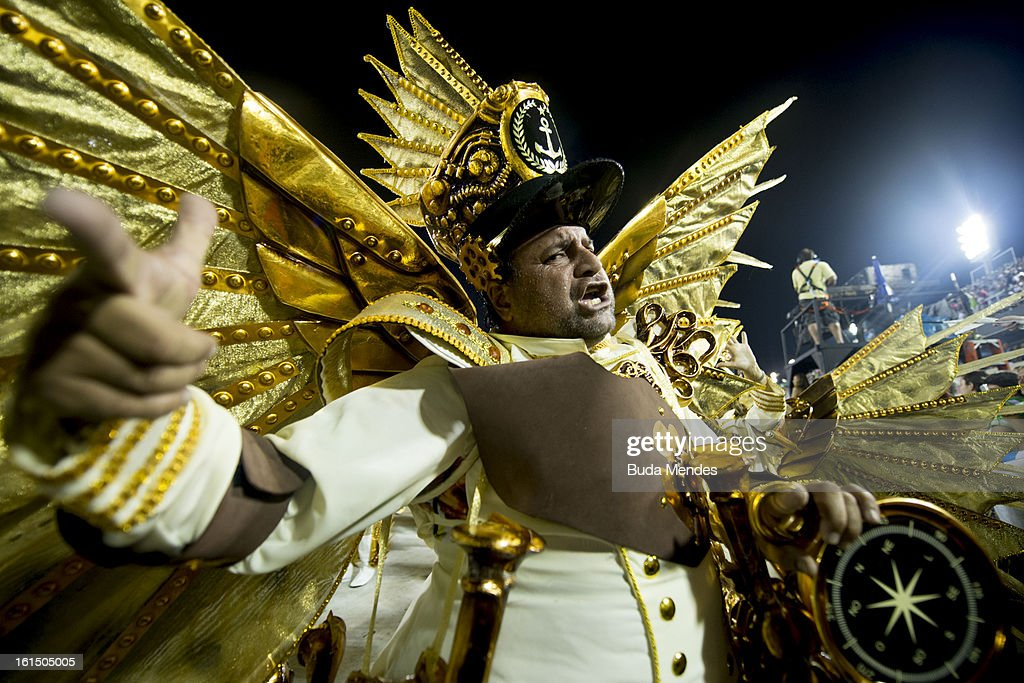 Members of Academicos Do Grande Rio during the parade featured on the petroleum industry of Rio de Janeiro, at Sambodrome Marques de Sapucai on February 12, 2013 in Rio de Janeiro, Brazil.