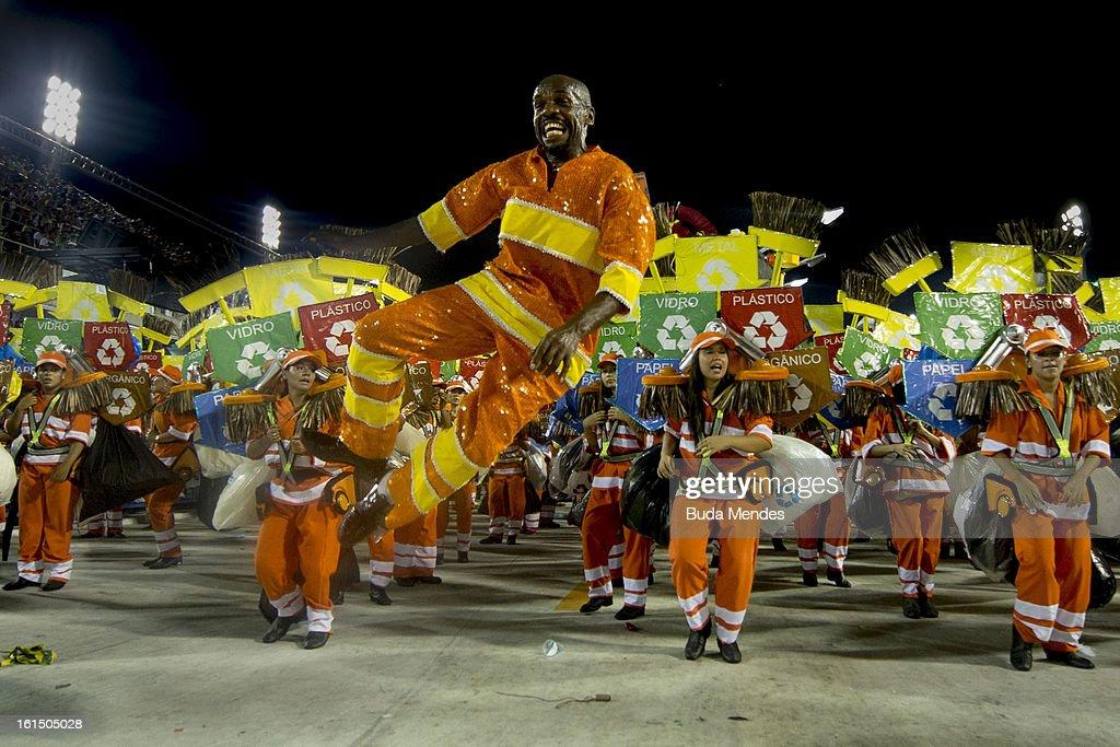 Members of Academicos Do Grande Rio during the parade featured on the petroleum industry of Rio de Janeiro, at Sambodrome Marques de Sapucai on February 12, 2013 in Rio de Janeiro, Brazil.