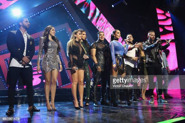 Members of Acapulco Shore speak on stage during the MTV MIAW Awards 2017 at Palacio de Los Deportes on June 3 2017 in Mexico City Mexico