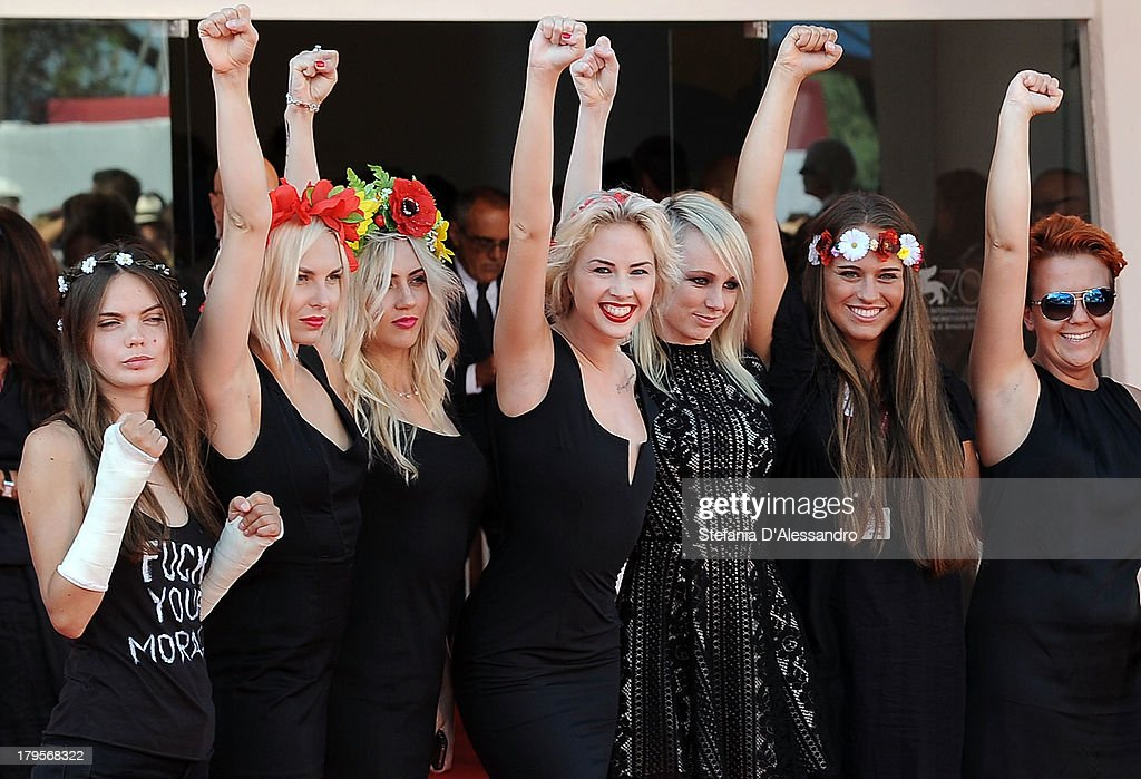 Members of activist group Femen attend the 'Sacro Gra' premiere during the 70th Venice International Film Festival at the Sala Grande on September 5...