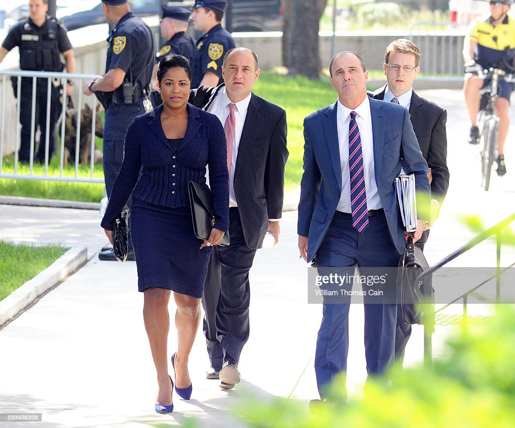 Members of actor and comedian Bill Cosby's legal team, Monique Pressley (L) and Brian McMonagle (R) arrive for a preliminary hearing on sexual assault charges at Montgomery County Courthouse on May 24, 2016 in Norristown, Pennsylvania.