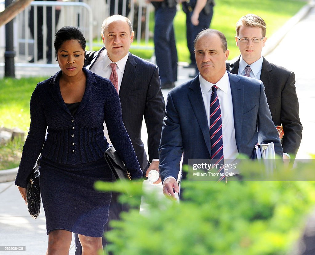Members of actor and comedian Bill Cosby's legal team, <a gi-track='captionPersonalityLinkClicked' href=/galleries/search?phrase=Monique+Pressley&family=editorial&specificpeople=14868191 ng-click='$event.stopPropagation()'>Monique Pressley</a> (L) and Brian McMonagle (R) arrive for a preliminary hearing on sexual assault charges at Montgomery County Courthouse on May 24, 2016 in Norristown, Pennsylvania.