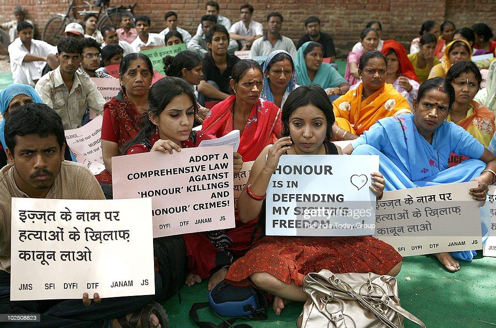 Members of Akhil Bhartiya Mahila Samiti protest against honour killings in New Delhi on Friday, June 25, 2010.