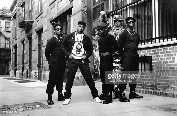 Members of American hip hop group Public Enemy outside the Def Jam record company office on Elizabeth Street New York 1988 Chuck D is second from...