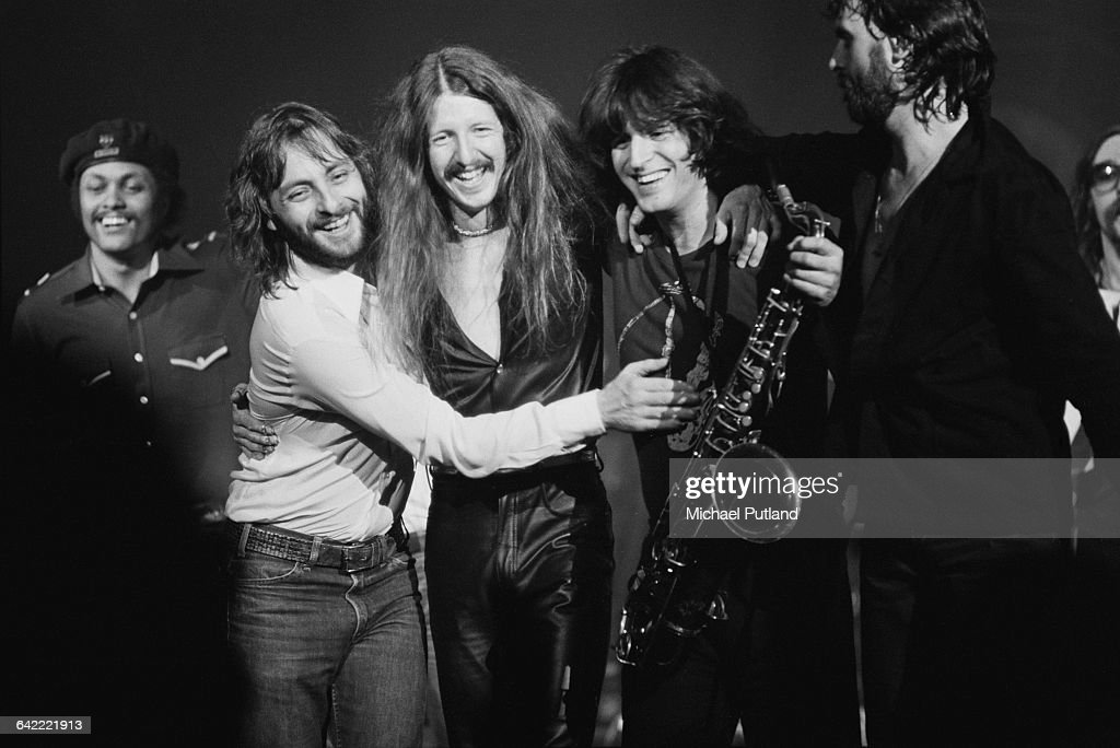 Members of American rock group The Doobie Brothers on stage at the Palladium, New York, 16th November 1978. Bassist Tiran Porter is at far left and guitarist <a gi-track='captionPersonalityLinkClicked' href=/galleries/search?phrase=Patrick+Simmons&family=editorial&specificpeople=3533796 ng-click='$event.stopPropagation()'>Patrick Simmons</a> is third from left.