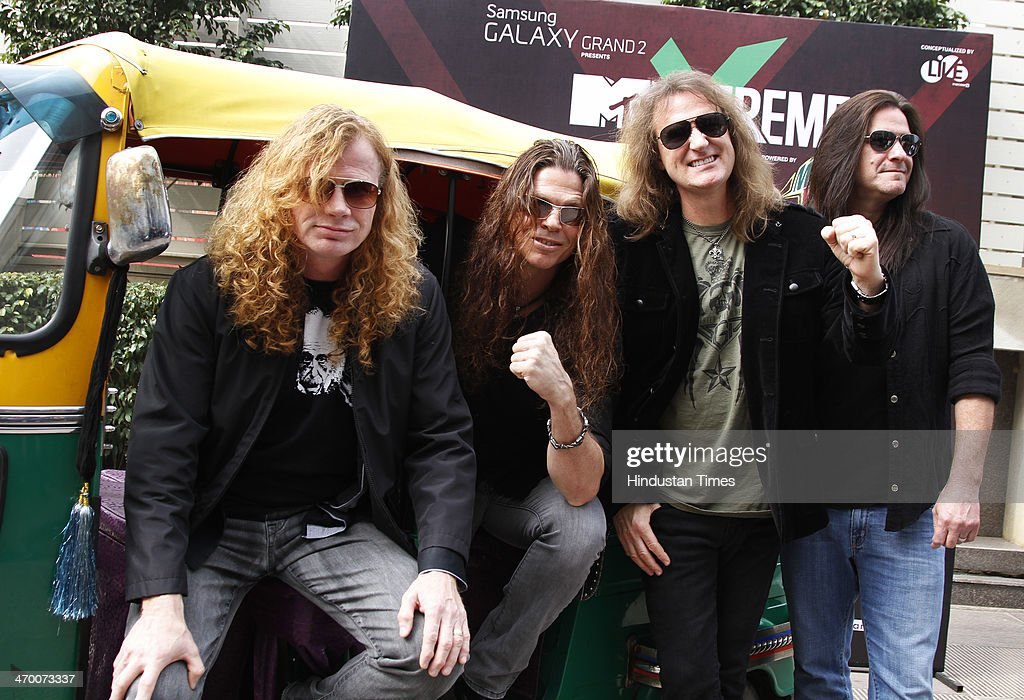 Members of American thrash metal band Megadeth (L - R) Dave Mustaine, Chris Broderick, David Ellefson and Shawn Drover during exclusive interview with Hindustan Times on February 15, 2014 at Hotel Crown Plaza in Greater Noida, India.