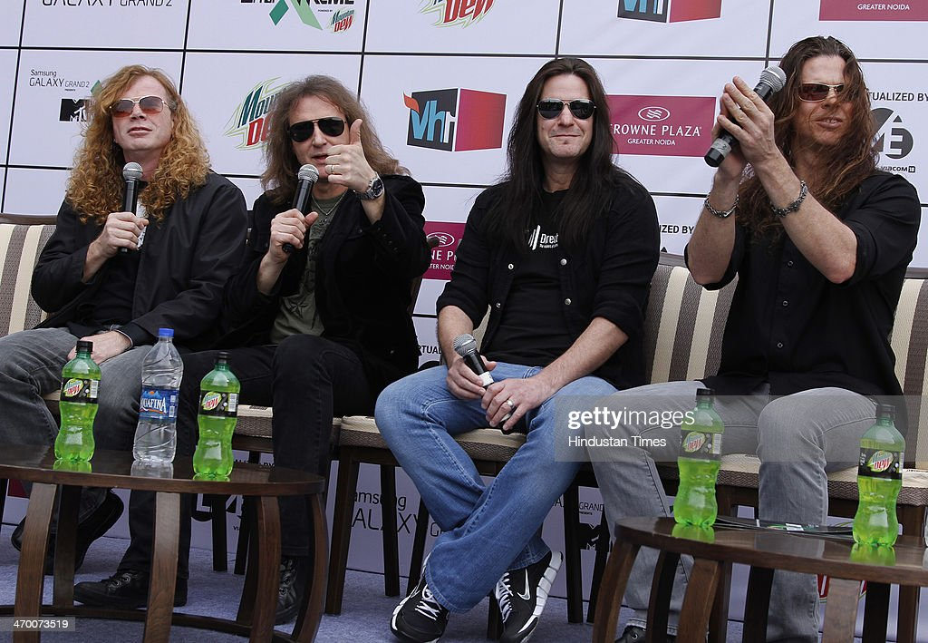 Members of American thrash metal band Megadeth (L - R) Dave Mustaine, David Ellefson, Shawn Drover and Chris Broderick during exclusive interview with Hindustan Times on February 15, 2014 at Hotel Crown Plaza in Greater Noida, India.