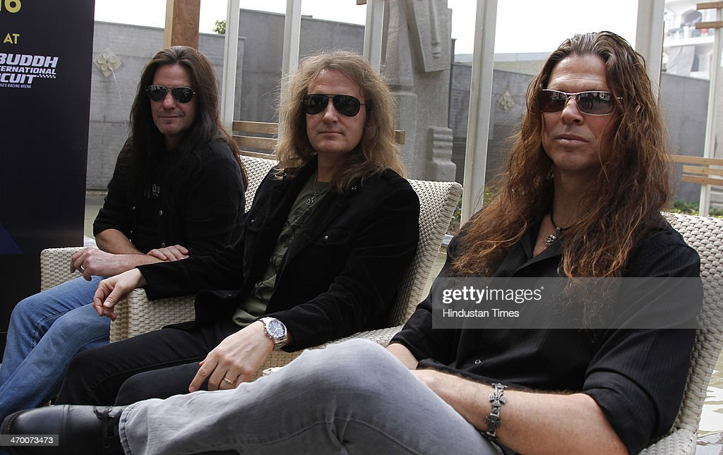 Members of American thrash metal band Megadeth (L - R) Shawn Drover, David Ellefson and Chris Broderick during exclusive interview with Hindustan Times on February 15, 2014 at Hotel Crown Plaza in Greater Noida, India.