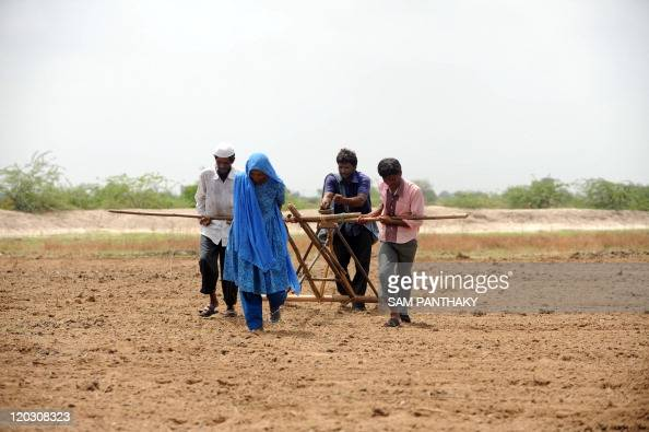 Members of an Indian farming family led by Sarifa Jinab Sidani plough a field in preparation for sowing cotton seeds in Kayla village some 70 kms...