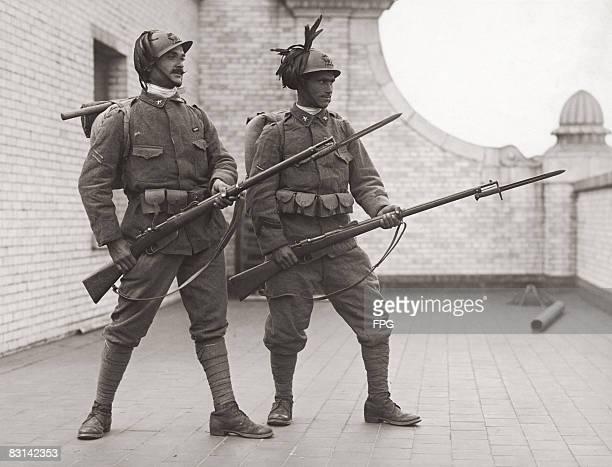 Members of an Italian Bersaglieri regiment in the USA to take part in the Liberty Loan Effort circa 1918