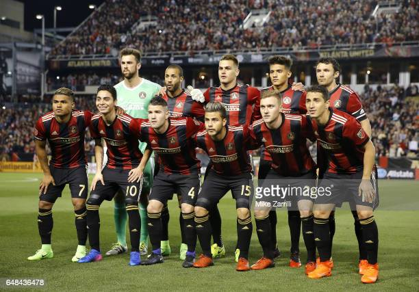 Members of Atlanta United pose for a team photo before the game against New York Red Bulls at Bobby Dodd Stadium on March 5 2017 in Atlanta Georgia
