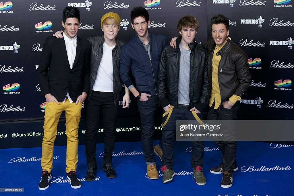 Members of Auryn attend '40 Principales Awards' 2012 photocall at Palacio de los Deportes on January 24, 2013 in Madrid, Spain.