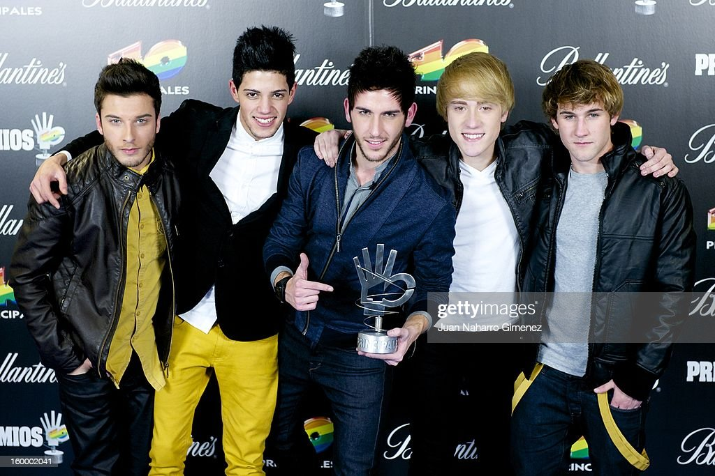 Members of Auryn poses in the press room during 40 Principales Awards 2012 at the Palacio de Deportes on January 24, 2013 in Madrid, Spain.