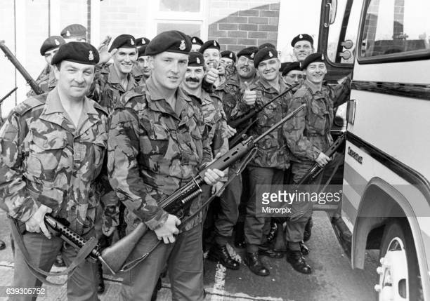 Members of B Compnay the 1st Battalion the Yorkshire Volunteers prepare to board the coach before travelling to Kent for two weeks intensive training...