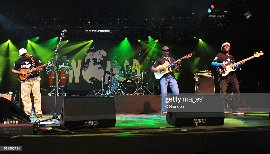 Members of Bamba Wassoulou Groove perform on stage during Day 2 of the Womad Festival at Charlton Park on July 29 2016 in Wiltshire England