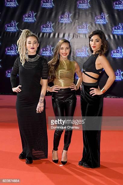 Members of band LEJ Juliette SaumagneElisa Paris and Lucie Lebrun attend the Music Awards Red Carpet Arrivals at Palais des Festivals on November 12...