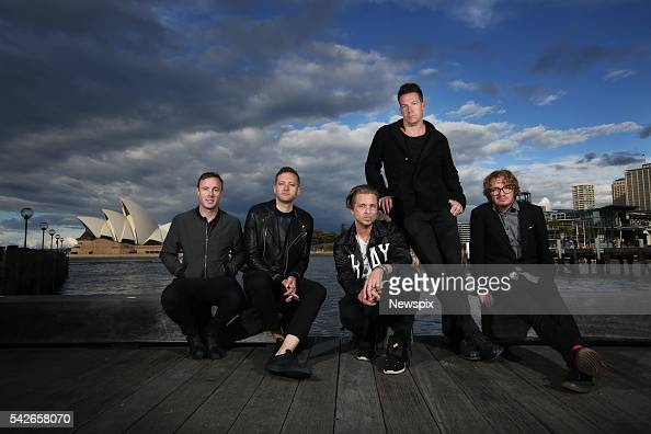 Members of band OneRepublic Eddie Fisher Brent Kutzle Ryan Tedder Zach Filkins and Drew Brown pose during a media call in Sydney New South Wales