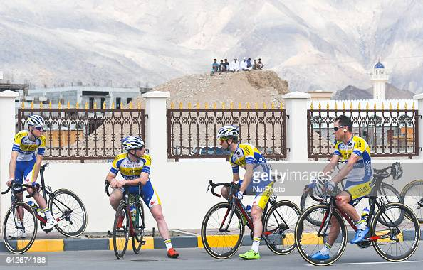 Members of Belgian SPORT VLAANDEREN BALOISE team ahead of the fifth stage a 1525km from Sama'il to Jabal Al Akhdhar at the 2017 cycling Tour of Oman...