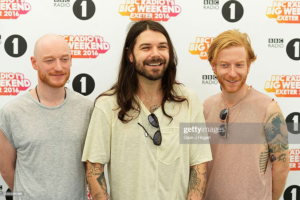 Members of Biffy Clyro pose for a photo during day 2 of BBC Radio 1's Big Weekend at Powderham Castle on May 29, 2016 in Exeter, England.