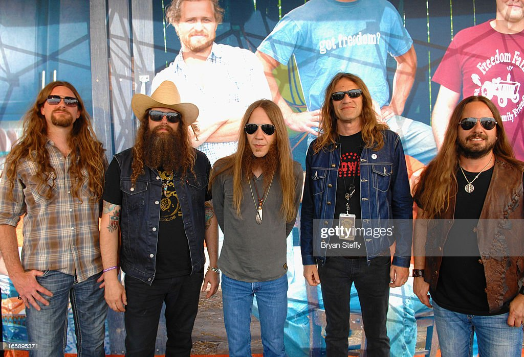 Members of Blackberry Smoke (L-R) Brandon Still, Brit Turner, Charlie Starr, Richard Turner and Paul Jackson appear during the 48th Annual Academy Of Country Music Awards Experience at the Orleans Arena on April 6, 2013 in Las Vegas, Nevada.