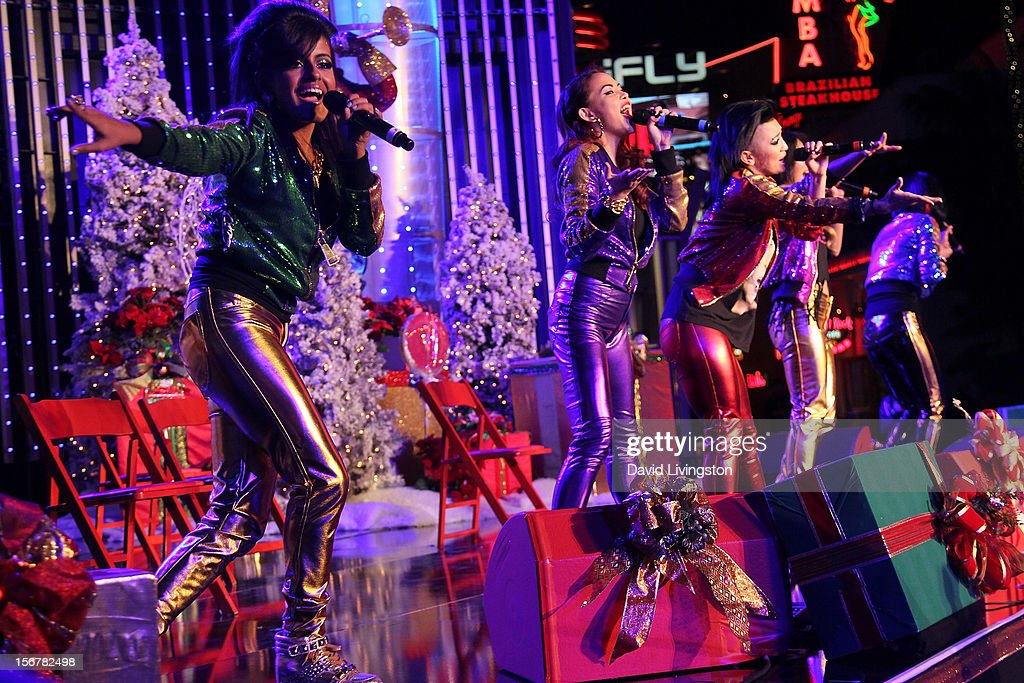 Members of Blush perform on stage at Associated Television International's 2012 Hollywood Christmas Parade Concert at Universal CityWalk's 5 Towers on November 20, 2012 in Universal City, California.