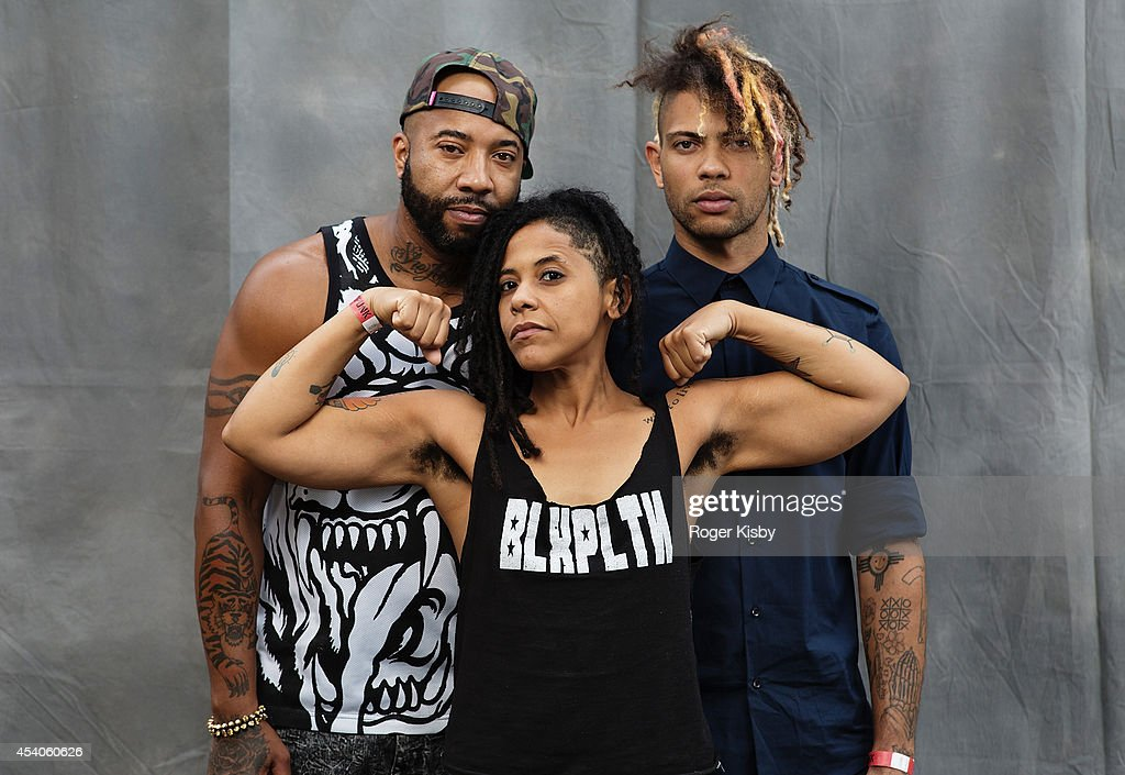 Members of BLXPLTN pose for a portrait backstage during day 1 of the AFROPUNK festival at Commodore Barry Park on August 23, 2014 in Brooklyn, New York.